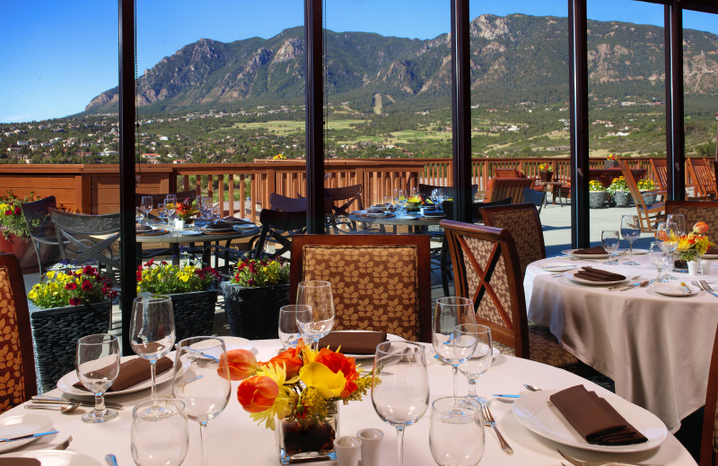 Known for its award-winning buffets, the Mountain View Restaurant at Cheyenne Mountain Resort features high wood-beamed ceilings and stunning views of the Rocky Mountain Front Range.