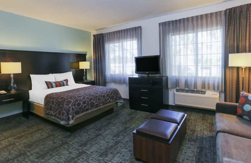 Guest room at Staybridge Suites Naples-Gulf Coast.
