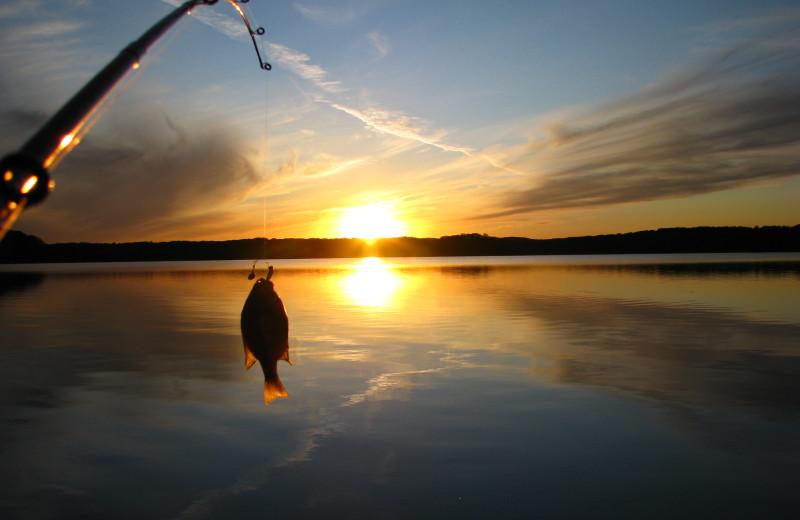 Fishing on lake at Minnesota Resort & Campground.