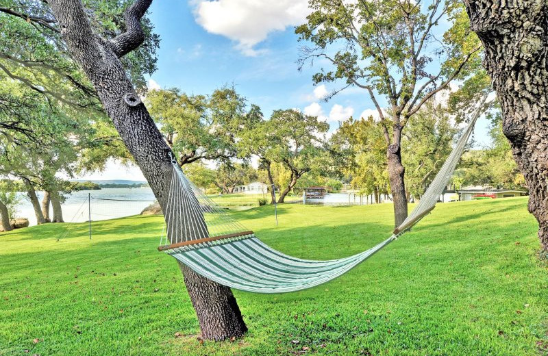 Rental hammock at Shady Grove Vacation Home on Lake LBJ.