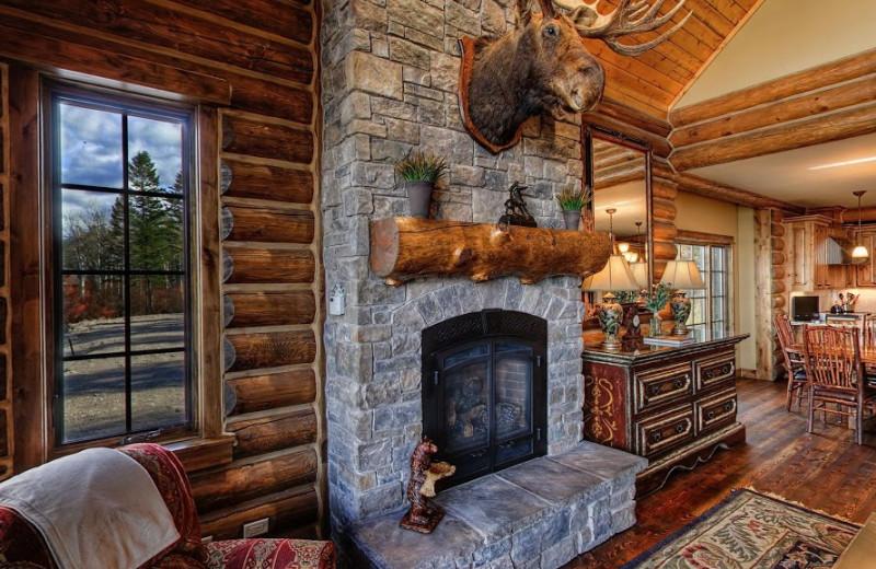 Cabin fireplace at Teton Springs Lodge.