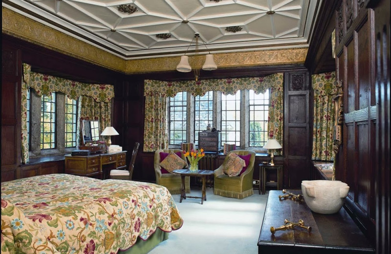 Guest room at Lewtrenchard Manor.