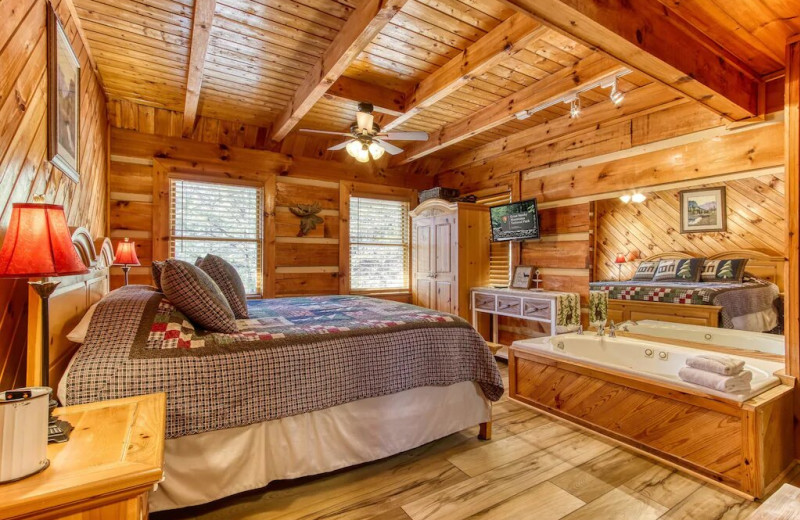 Rental bedroom at Aunt Bug's Cabin Rentals, LLC.