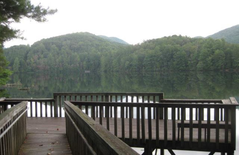 Dock view at Blue Ridge Cabin Rentals.