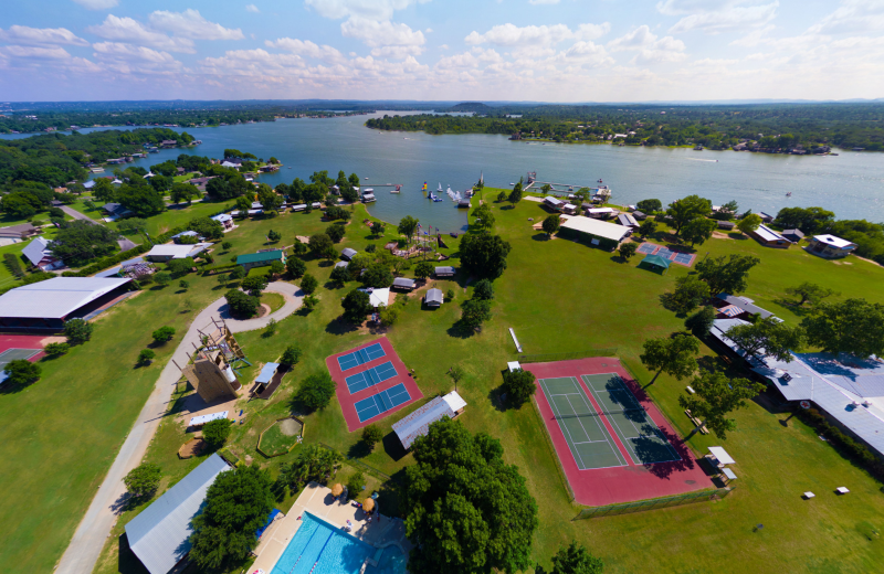 Aerial view of Camp Champions on Lake LBJ.