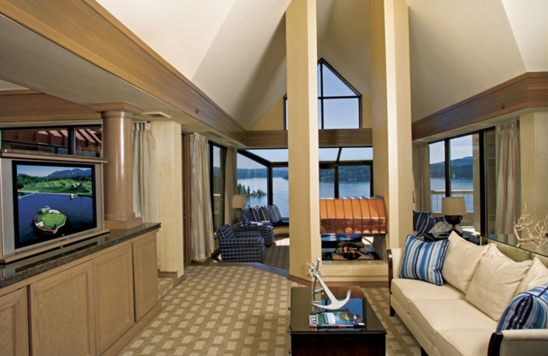 Guest room at The Coeur d'Alene Resort.