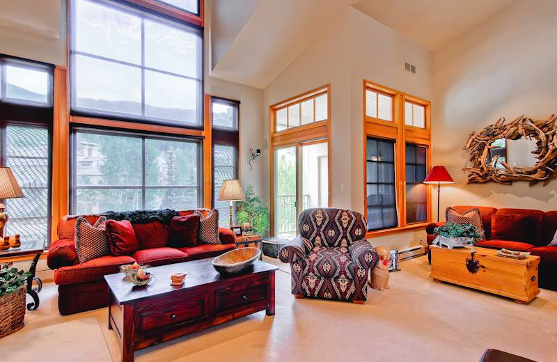 Guest living room at East West Resorts Beaver Creek.