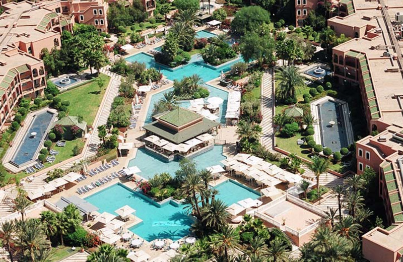 Aerial view of Palmeraie Golf Palace Hotel and Resort.
