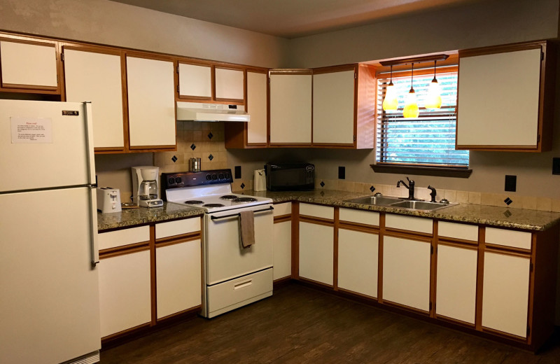 Condo kitchen at Heart of Texas Lake Resort.