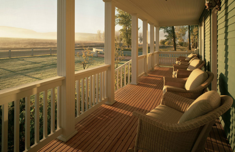 Cabin porch at The Resort at Paws Up.