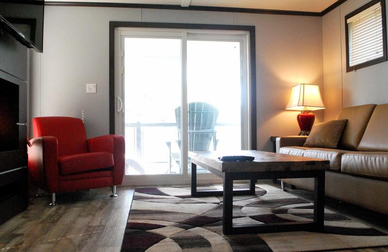Cottage living room at Golden Beach Resort.