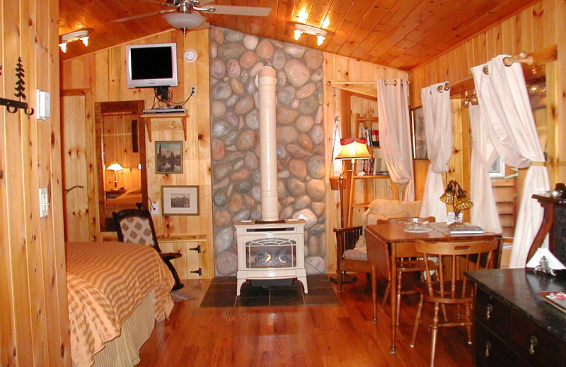 Cabin interior at Jasmer's Rainier Cabins & Fireplace Rooms.