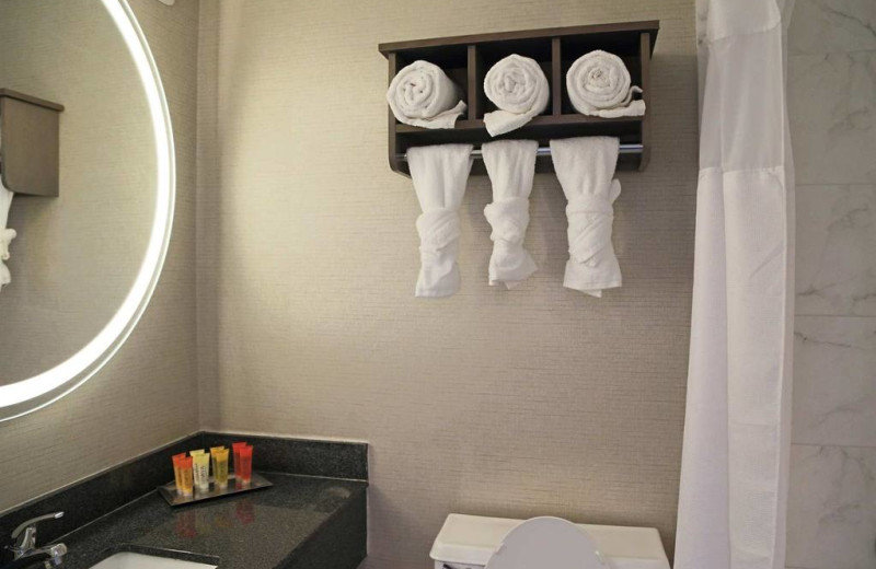 Guest bathroom at Surfbreak Oceanfront Hotel.
