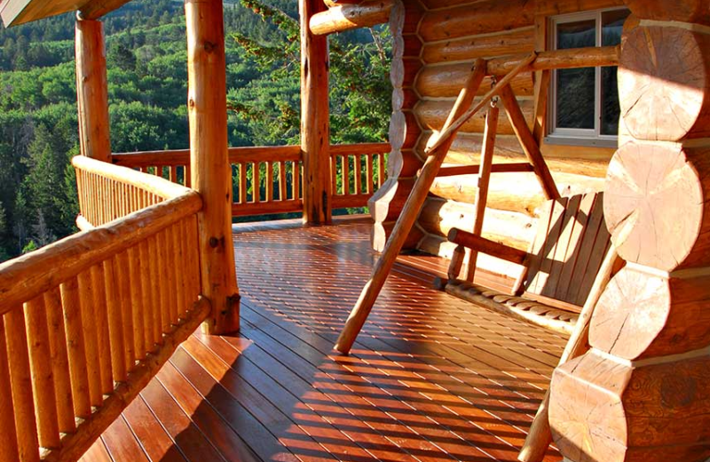 Deck with swing at Rocky Mountain Elk Ranch.