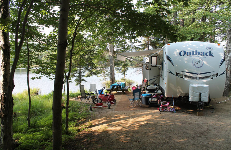 Lake view camp at Old Forge Camping Resort.