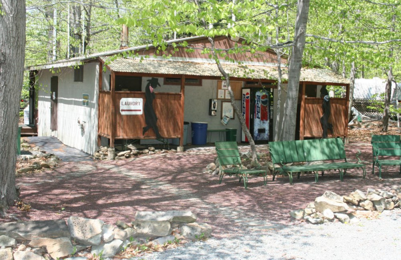 Bathroom facilities at Hemlock Campground & Cottages.