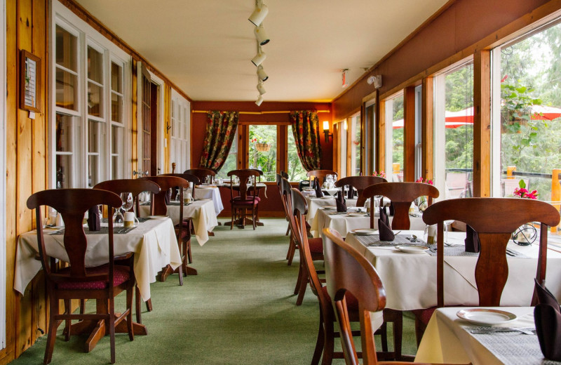 Lake view dining at Heather Lodge in an intimate, adult only setting.