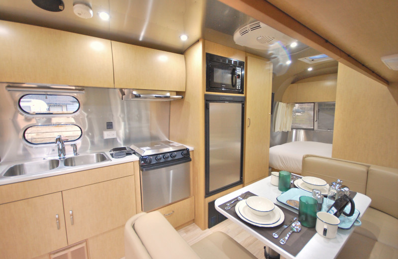 Guest kitchen at Airstreams at Haystack Village.