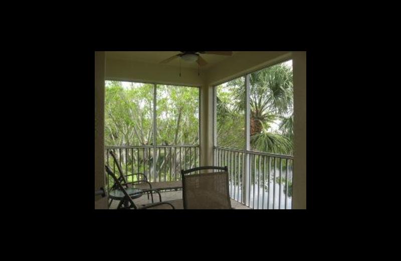 Vacation rental patio at Sunshine Resort Rentals, LLC.