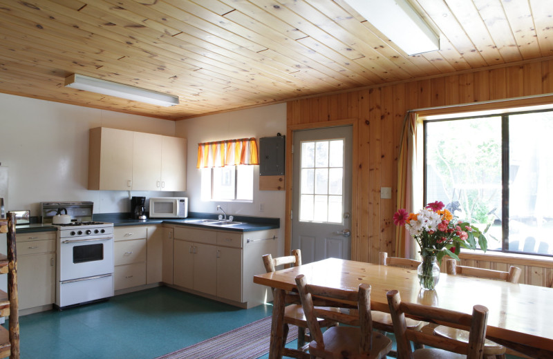 Cabin kitchen at Southview Cottages Resort.