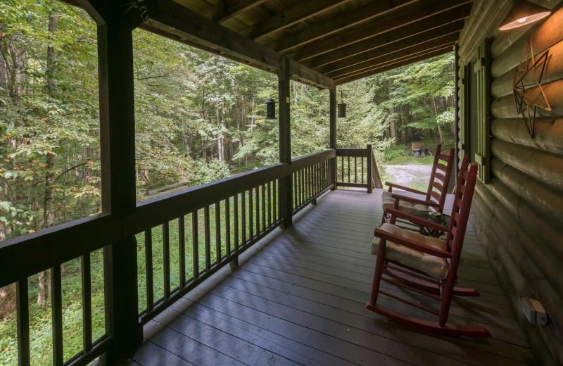 Cabin porch at Blue Ridge Vacation Cabins.