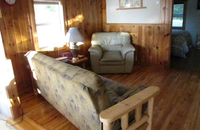 Cabin interior at Deer Lake Resort.