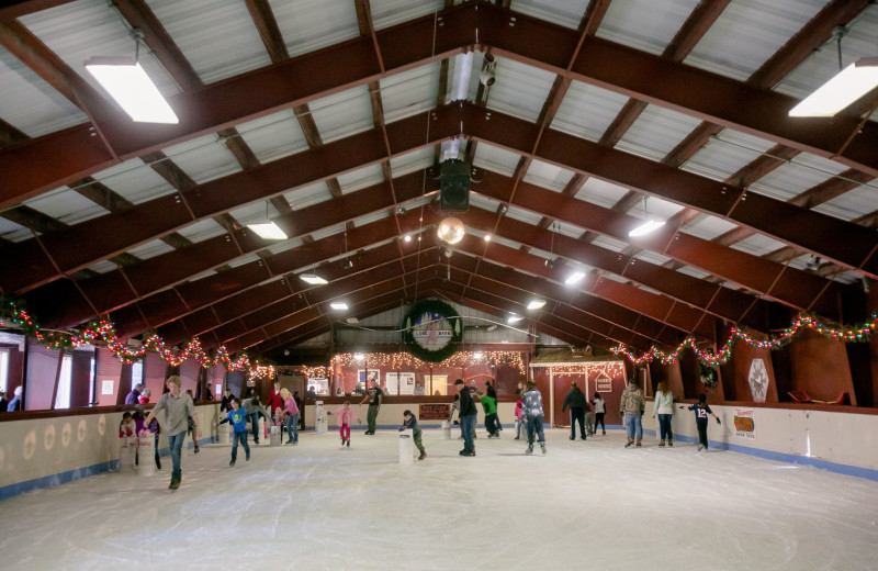 Ice skating rink at Long Barn Lodge.
