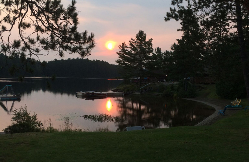 Sunset at Silv'ry Moon Lodge.
