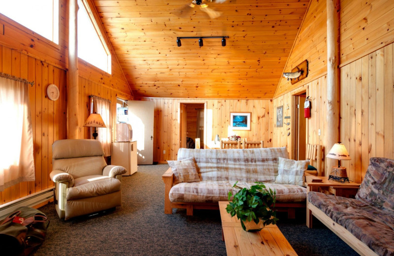 Cabin living room at Tetu Island Lodge.