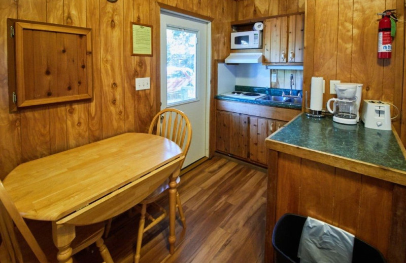 Cabin kitchen at MarVal Resort.