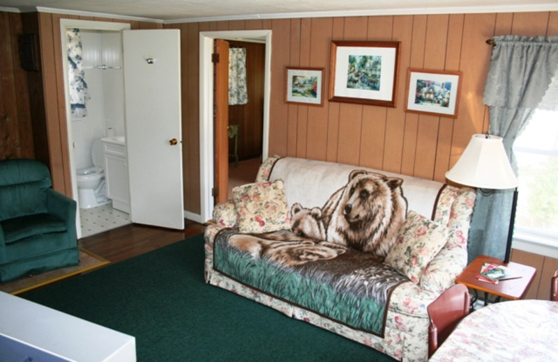Cottage living room at Hemlock Campground & Cottages.