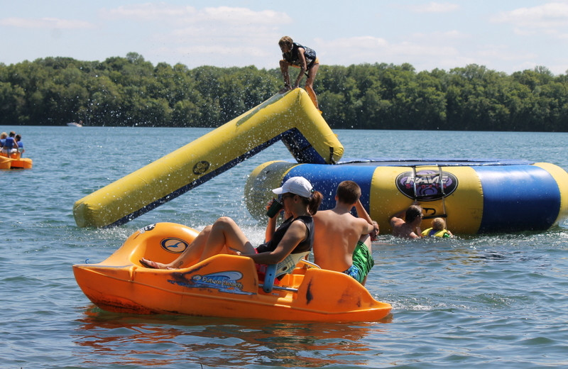 Pedal boat and water trampoline at East Silent Resort.