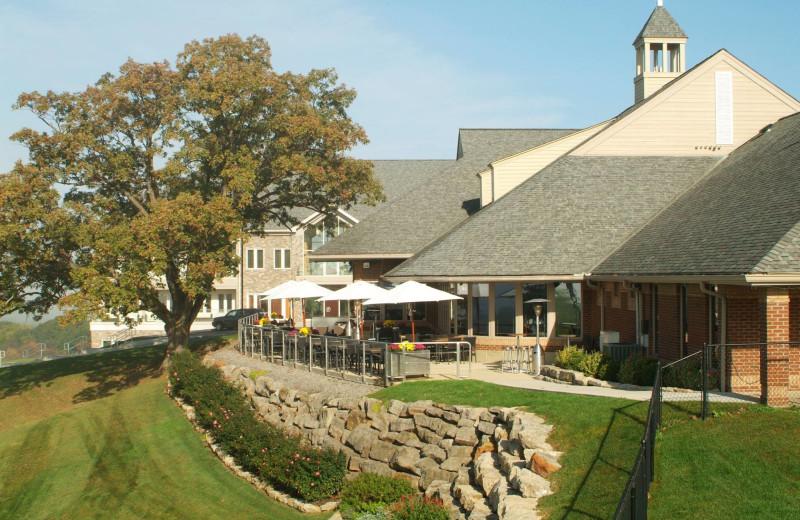 Outdoor patio at Lenape Heights Golf Resort.