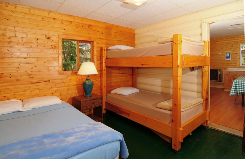 Guest bedroom at Whitefish Bay Camp.