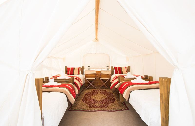 Tent beds at Grand Canyon Under Canvas.