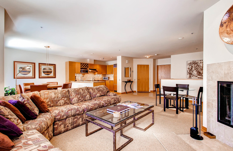 Rental living room at The Centennial Lodge.