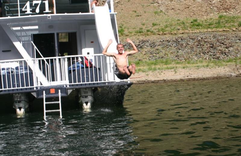Houseboat slide at Lake Oroville.