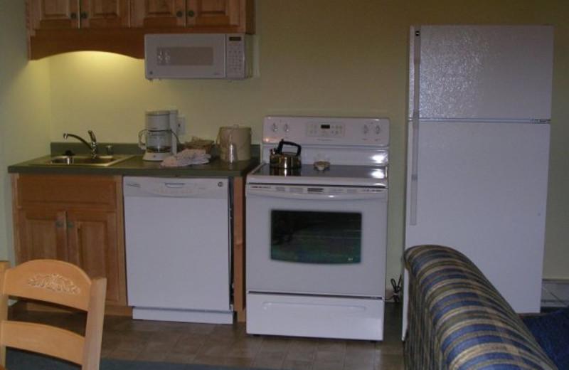 Guest kitchen at Birchwood Lodge.