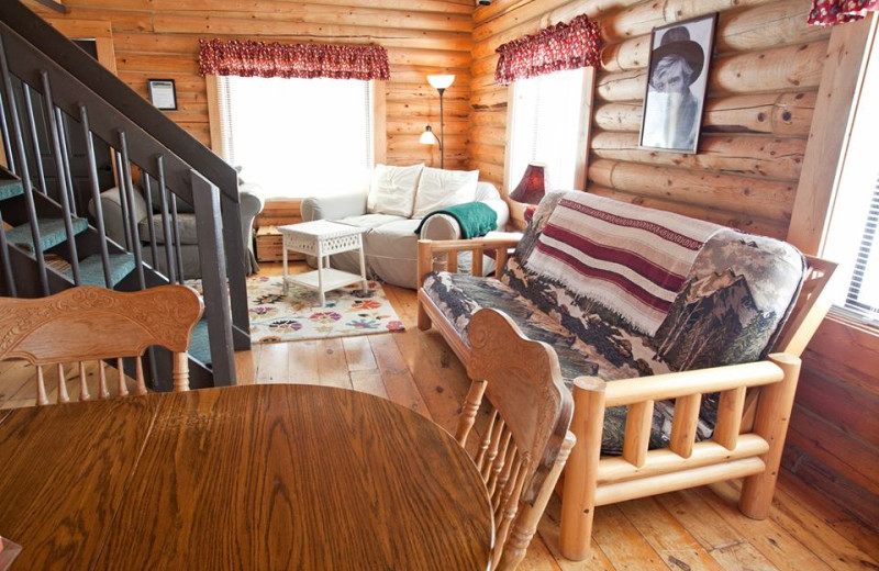 Cabin living room at High Country Guest Ranch.