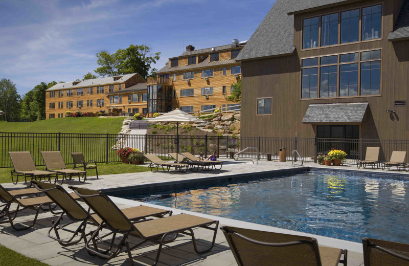 A view up the hill to our main lodge from our new pool and events barn at The Mountain Top Inn & Resort.