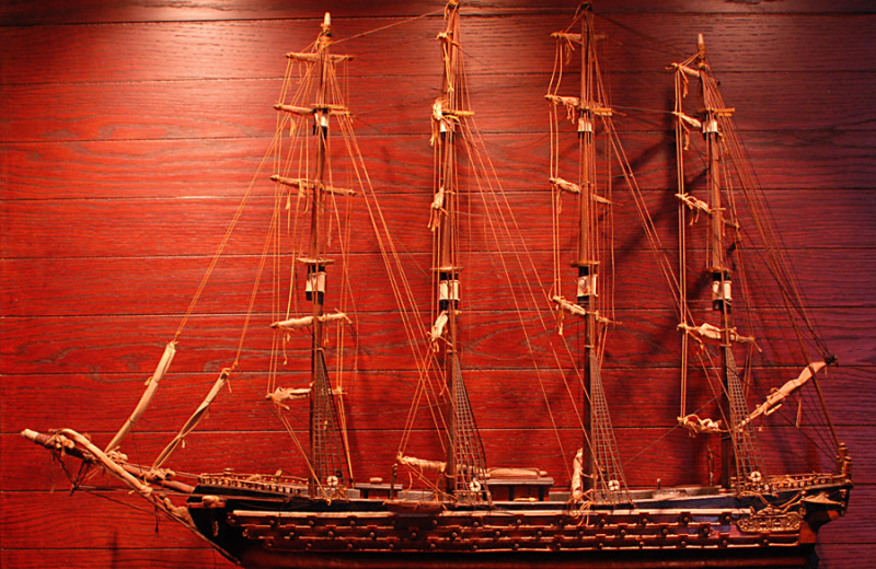 Model ship at Island House Beach Front Condominiums.