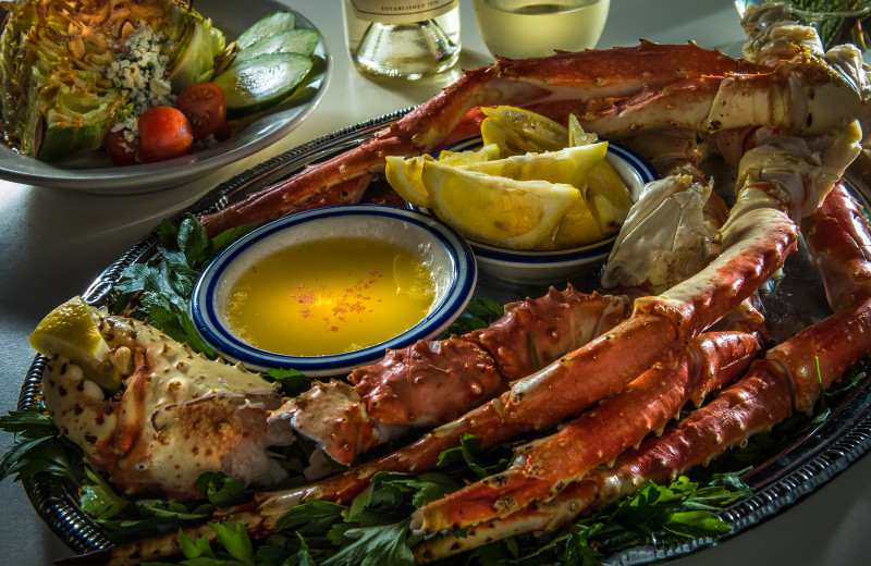 King Crab legs at Timbers Restaurant, Salmon Falls Resort