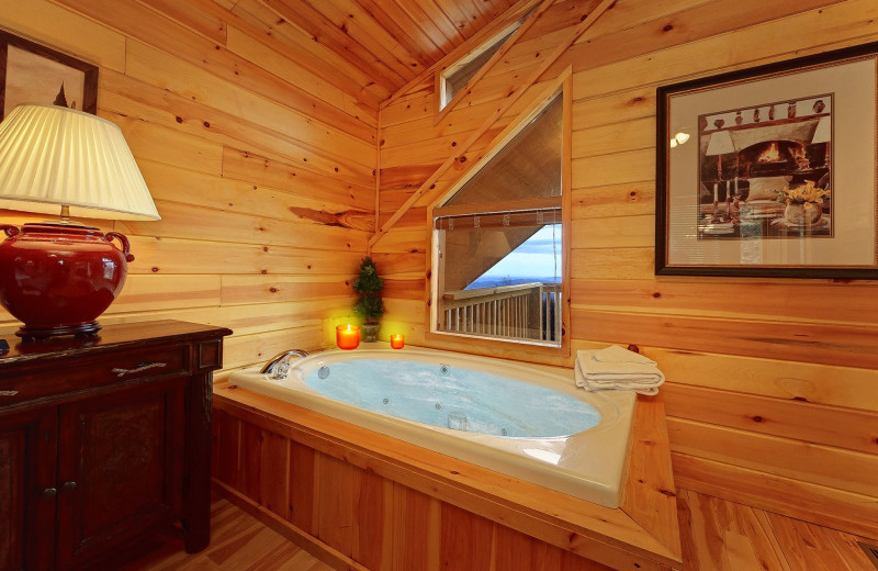 Cabin bathroom at Aunt Bug's Cabin Rentals, LLC.