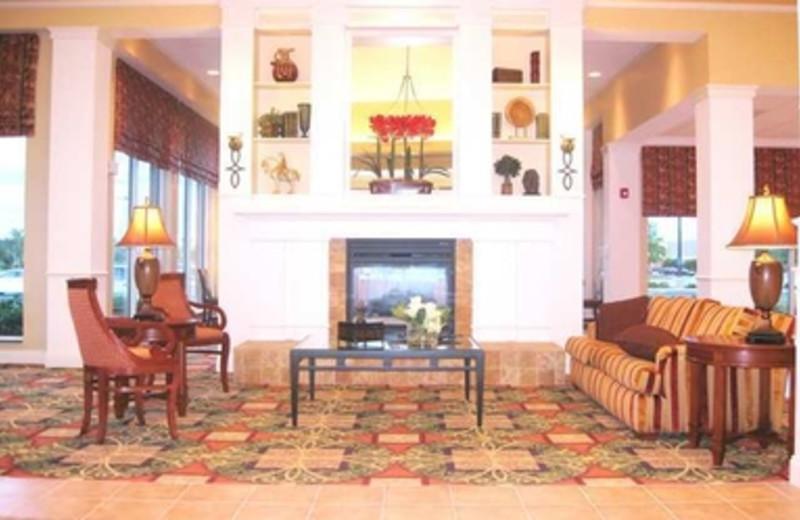 Lobby Fireplace at Hilton Garden Inn Myrtle Beach