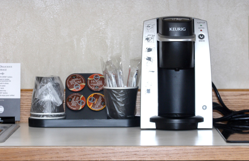 Coffee makers in every room at  Lakeside Lodge & Suites.
