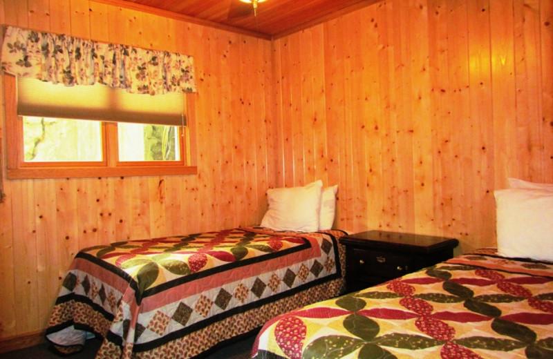 Cabin bedroom at Contessa Resort.