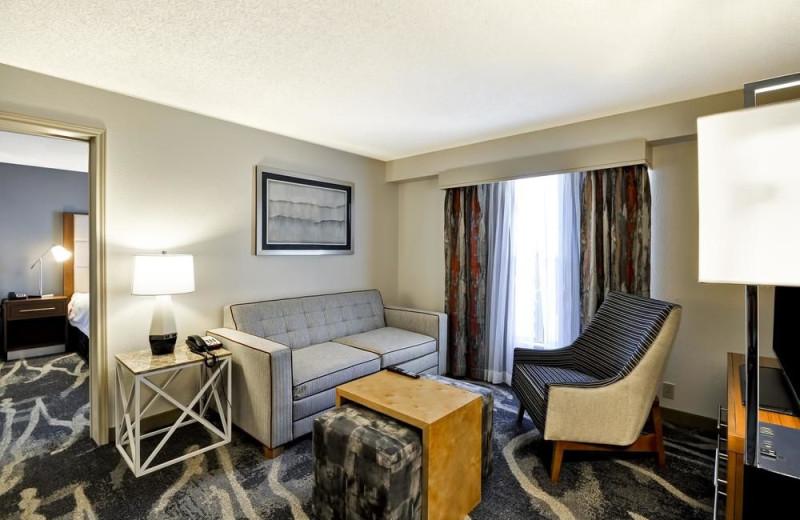 Guest room at Homewood Suites Phoenix-Biltmore.