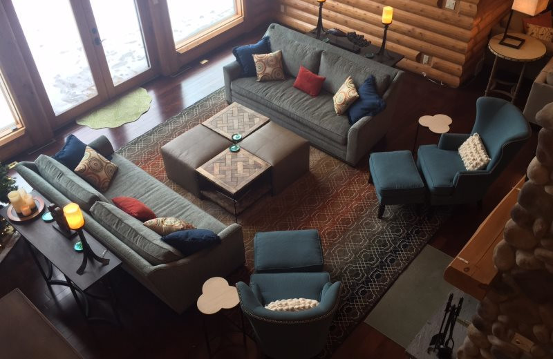 Rental living room at Sand County Service Company - Wolf Lodge on Lake Petenwell.