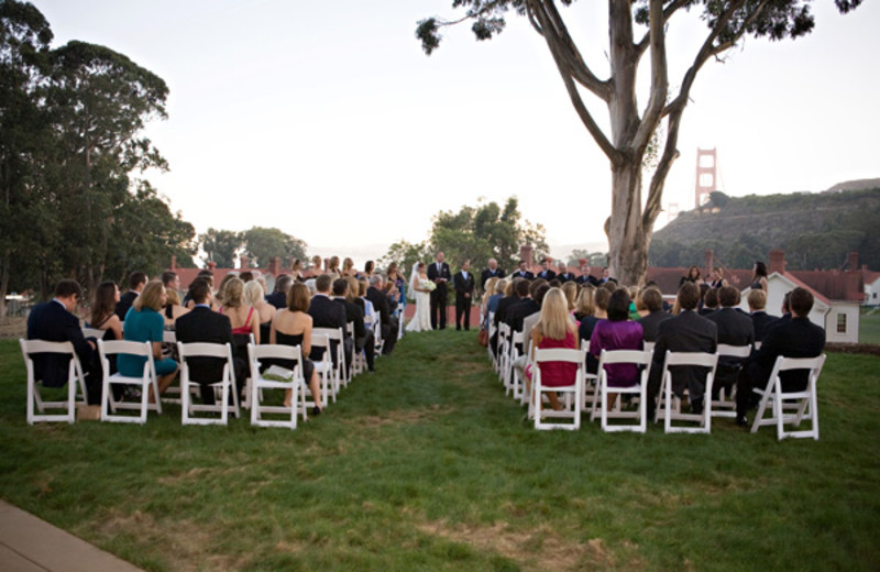 Outdoor wedding at Cavallo Point Lodge.