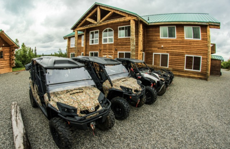 ATV and exterior of Alaska's Gold Creek Lodge.